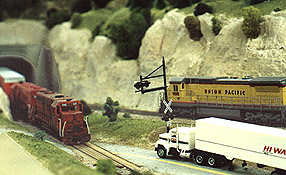 Meets between Ann Arbor and Union Pacific freights aren't uncommon on Rails on Wheels' layout.