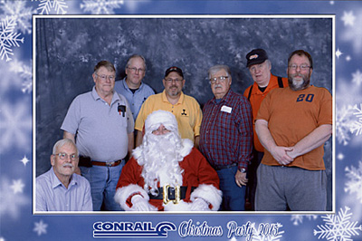 Rails on Wheels members, with Santa Claus, at<br/>the 2015 Conrail Christmas Party