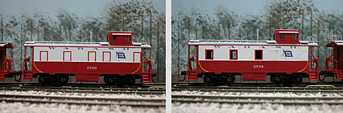 In 2010, Athearn released a pair of Wabash-painted cabooses.<br/>While the paint scheme was reasonably correct, there was an error<br/>in the first run, where <i>all</i> of the windows were plugged, instead<br/>of just some. It was not difficult to correct this, as the caboose on<br/>the right shows.