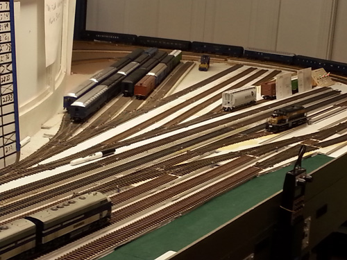 Over the Christmas holiday in 2013, Jeff Fryman rearranged the Fiddle Yard<br/>trackage to simplify it and to better reflect how we actually use it.