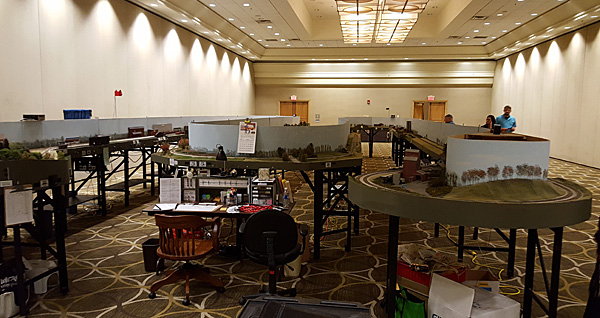 After a long day's work, the layout is ready for the first operating session as we leave<br/>the room Sunday night at <i>Highball to Indy 2016</i>.