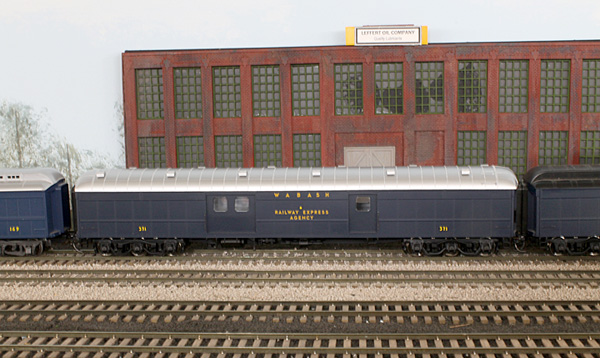 An arch-roofed Wabash baggage/express car made from a Walthers Wabash car, with the roof from a<br/>newly-released D&RGW baggage/express car. This would be an easy one for Walthers to release.